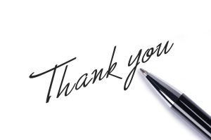 Thank you written with pen